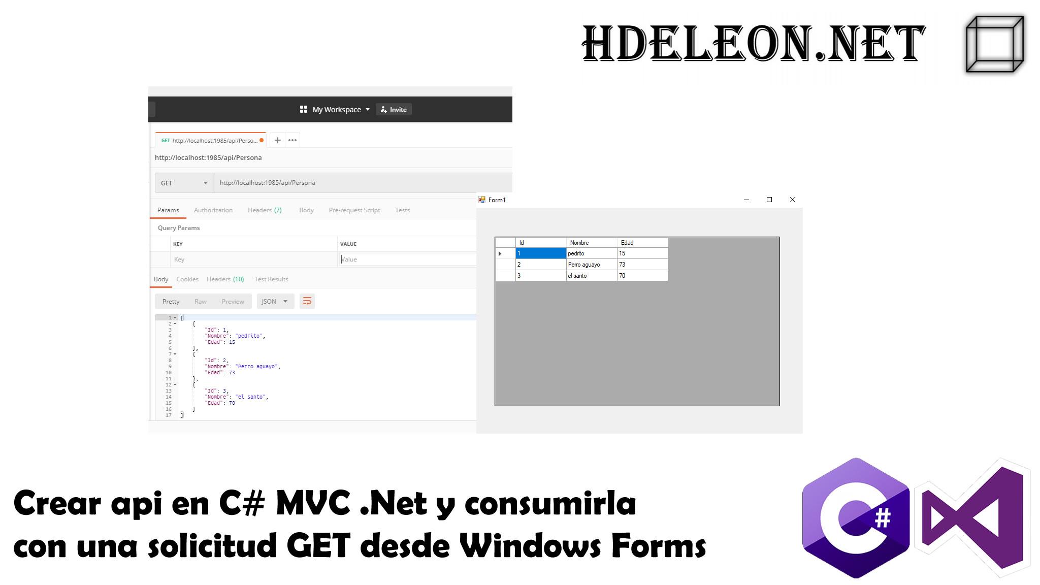 Crear Api en C# MVC .Net y consumirla con una solicitud GET desde Windows Forms