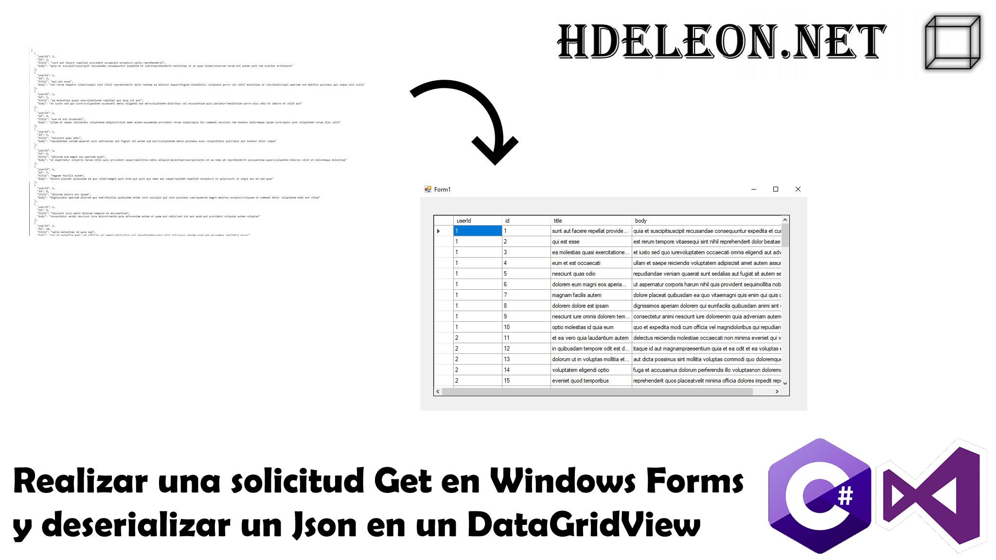 Realizar una solicitud Get en Windows Forms y deserializar un Json en un DataGridView